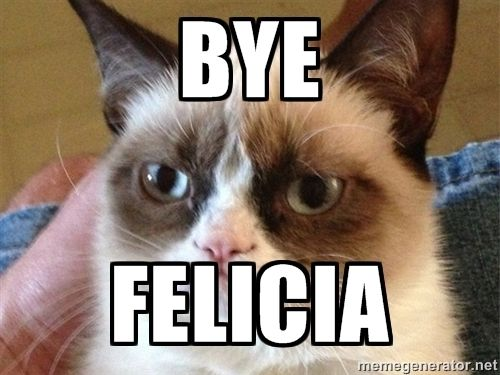 Eleven Best Times To Say Bye Felicia Grumpy Cat Humor Funny Grumpy Cat Memes Funny Pictures