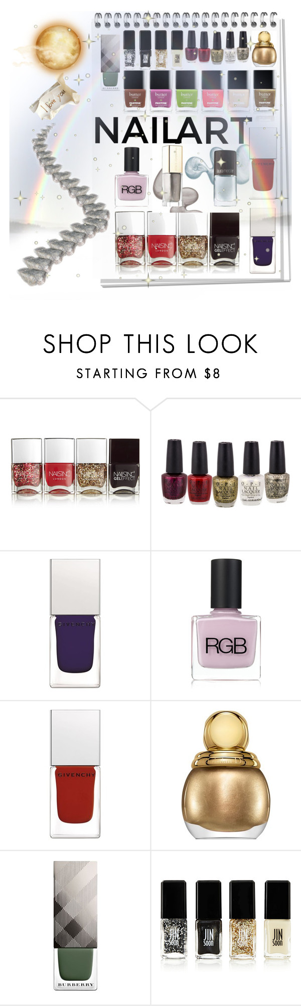 """""""Nail Art👛💅💄"""" by seanahr ❤ liked on Polyvore featuring Nails Inc., Givenchy, RGB Cosmetics, Christian Dior, Burberry and Jin Soon"""