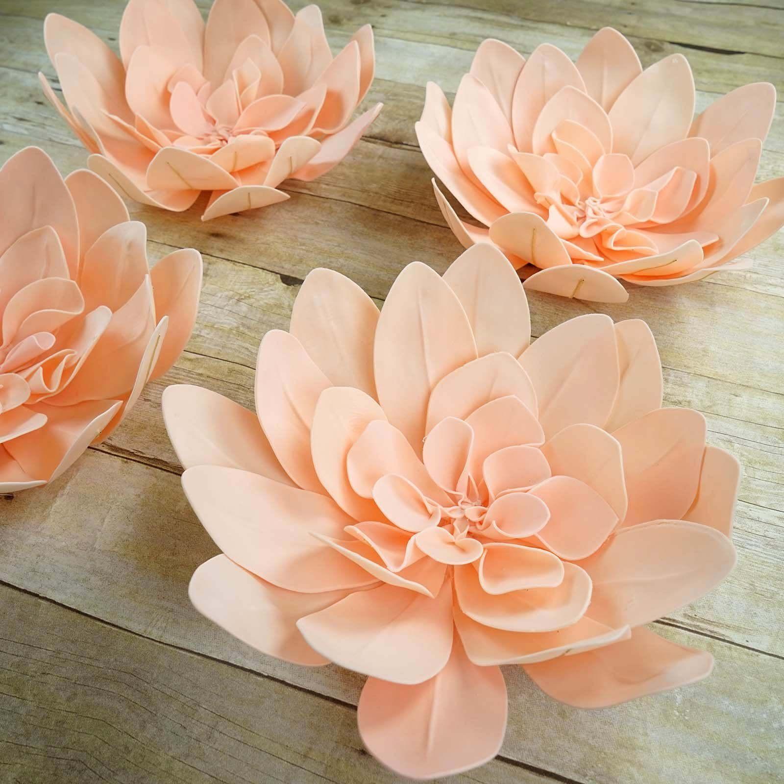 4 Pack 16 Real Feel Foam Daisy Flowers Rose Gold Blush Foam Flowers Faux Flowers Wall Backdrops