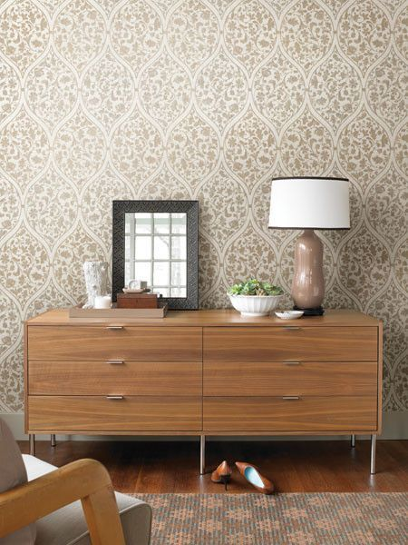 Adelaide Taupe Ogee Floral Wallpaper Design By Brewster Home Fashions Retro Home Decor Home Decor Home