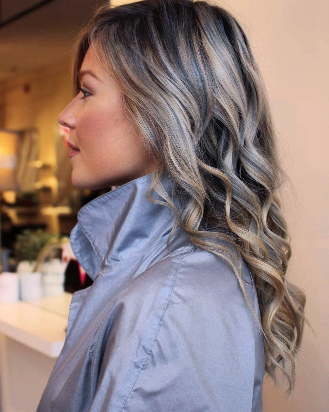 Icy Blonde Strands With Grey Blue Lowlights Ice Blonde Hair Grey Blonde Hair Blue Ombre Hair