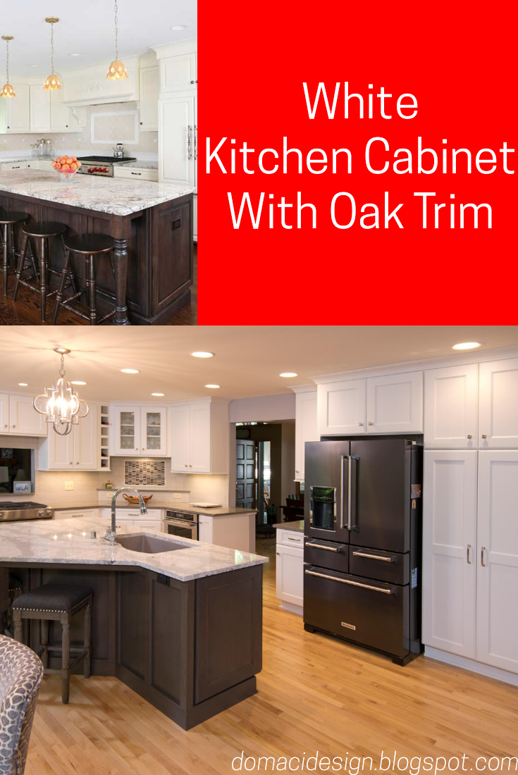 60 White Kitchen Cabinets With Oak Trim In 2020 Kitchen Cabinets Oak Trim White Kitchen