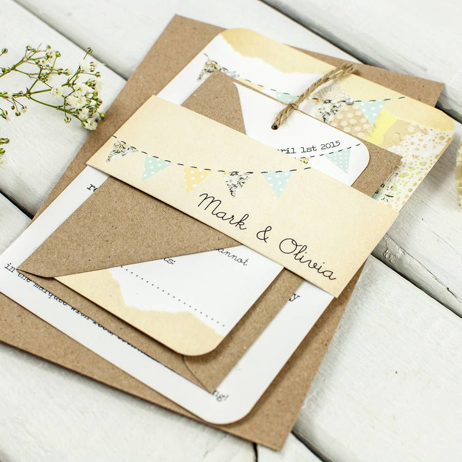 Country Bunting Wedding Invitation Bundle | Invitations, Wedding and ...