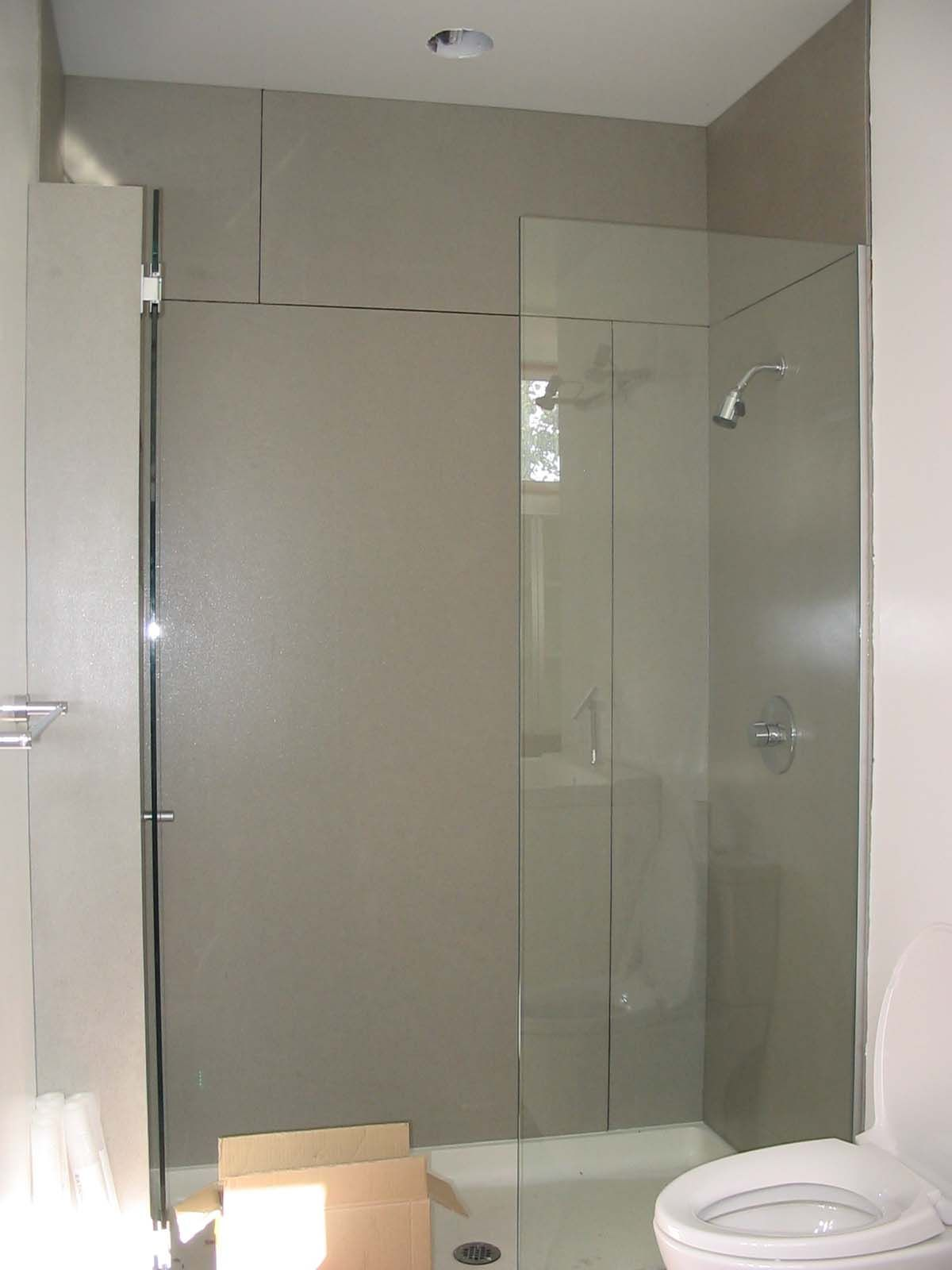 Concrete shower walls any suggestions bathroom redo for Bathroom shower walls