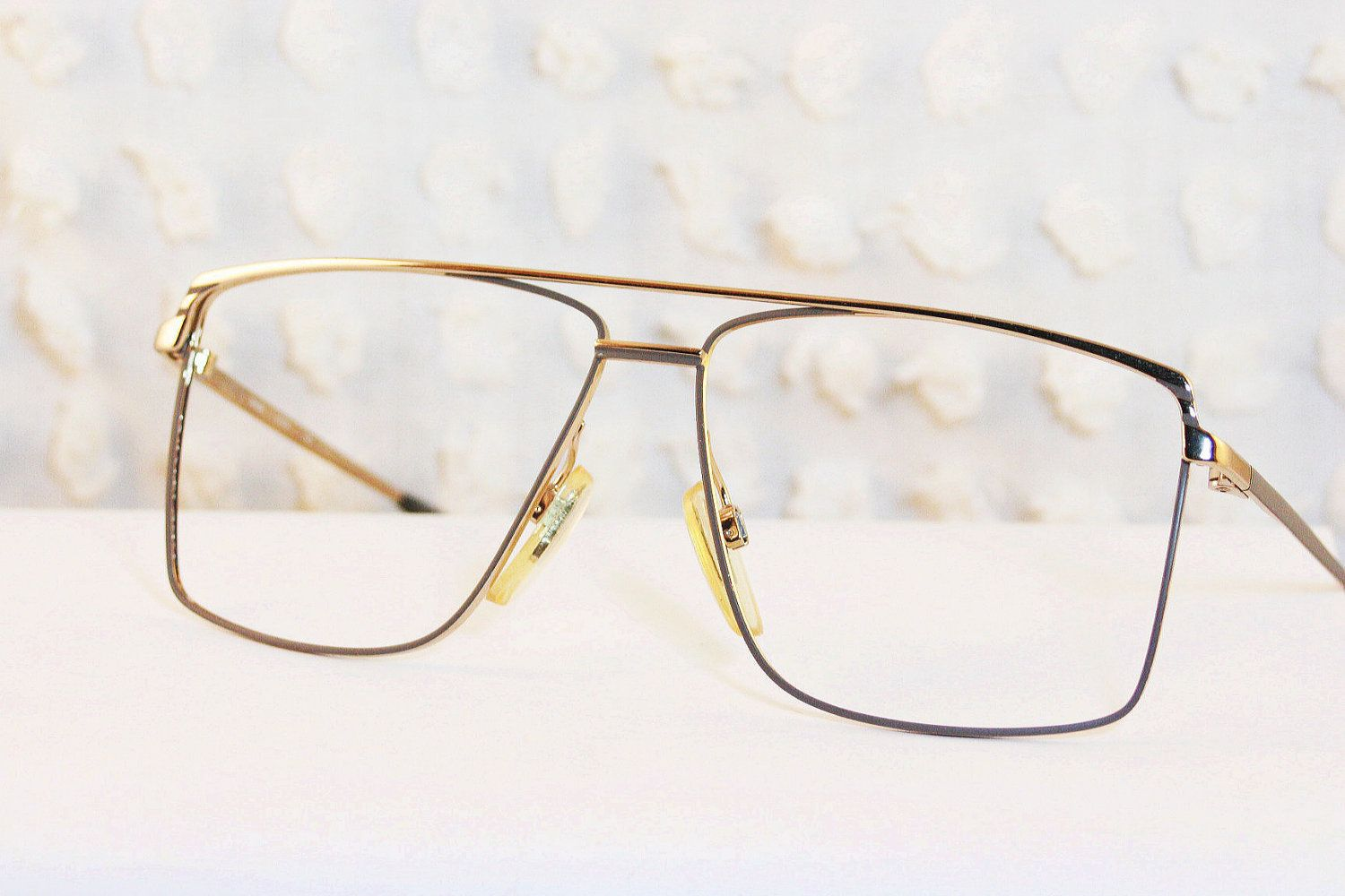 0e6e485bd6 80s Mens Glasses 1980 s Aviator Eyeglasses Metal Wire Rim Frame Two Tone  Finish 58 13 NOS by Univis Optical.  47.00