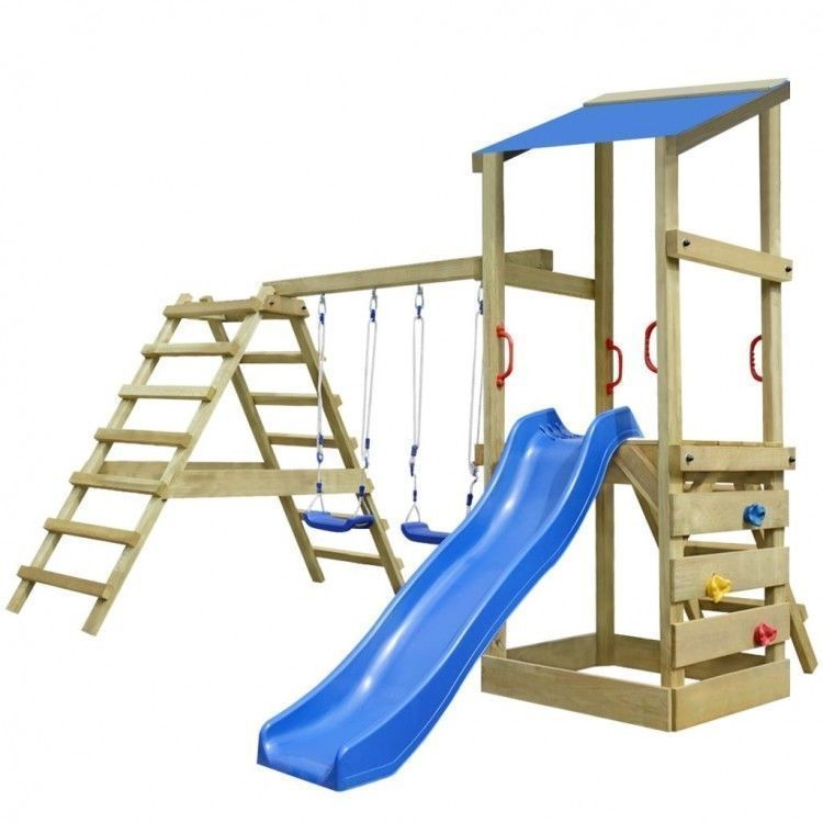 Wooden Playhouse With Slide Swings Towers Set Ladders Climbing Wall ...