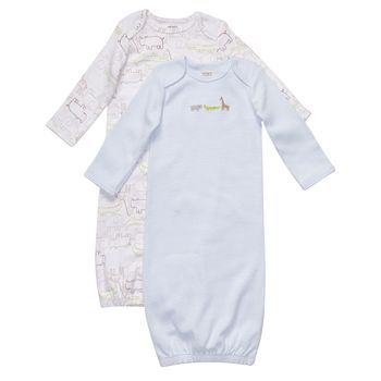 Newborn must-have: A week's worth of sleeper gowns. I was afraid of accidentally pulling A's legs off during diaper changes, so these were essential.
