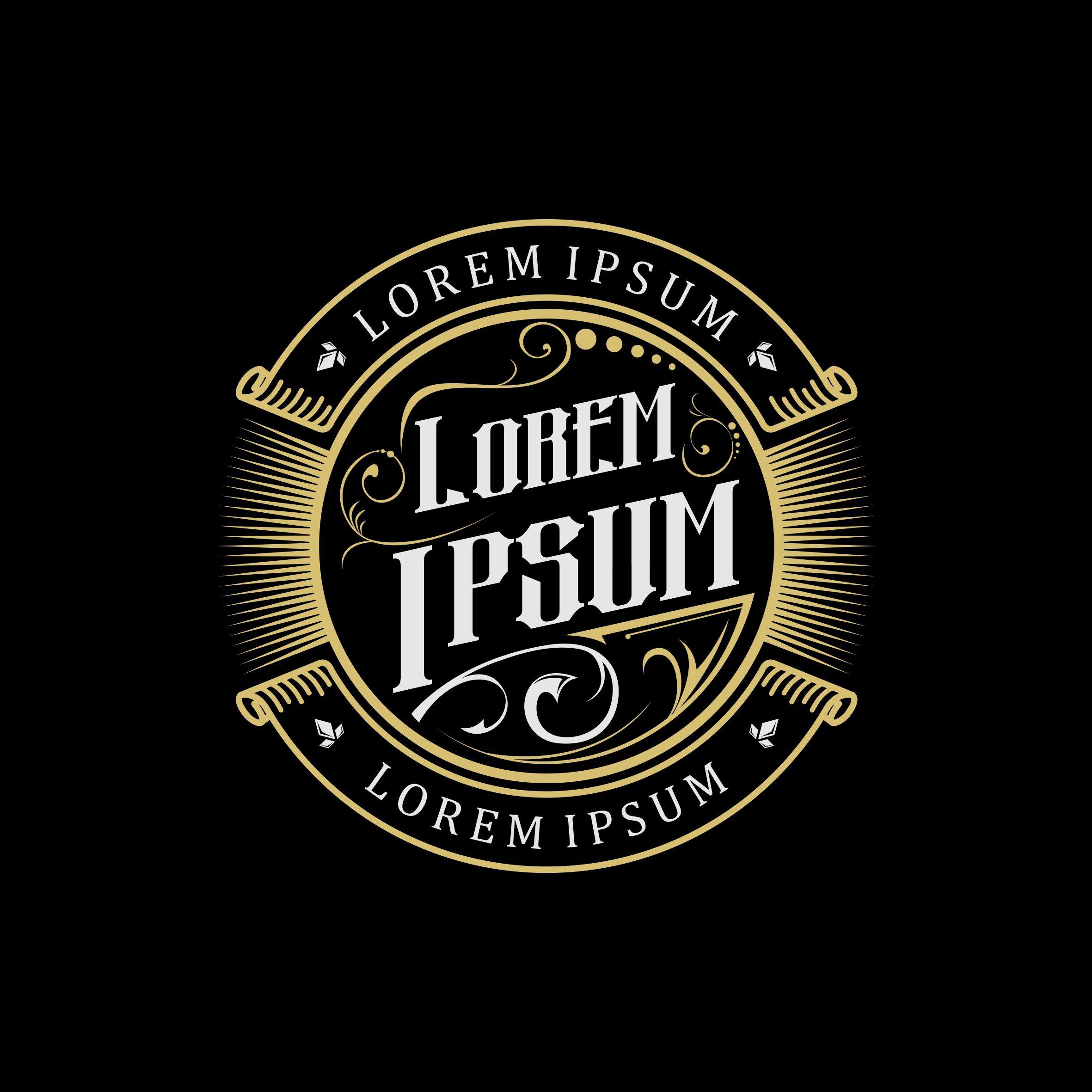 Gold Vintage Logo Gold Vintage Design Vector Logo Restaurant Emblem Typography Vintage Logo Design Vintage Logo Logo Design
