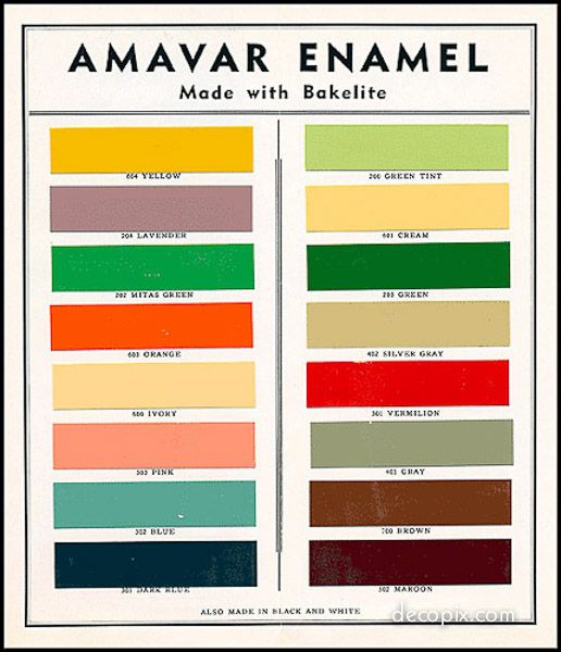 A selection of color schemes from the Art Deco era.