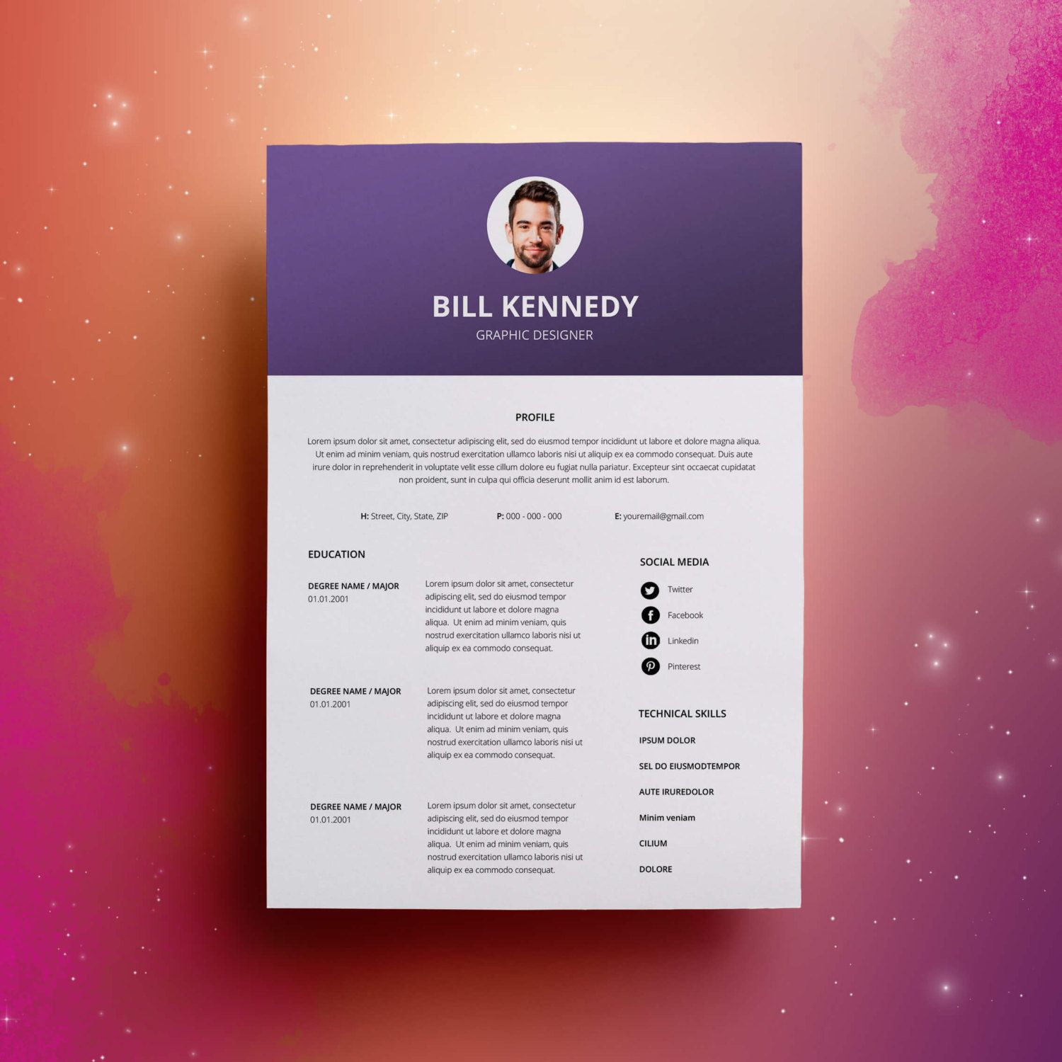 Template For A Resume In Word%0A Modern Resume Template  u     Cover Letter   Icon Set for Microsoft Word      Page Pack