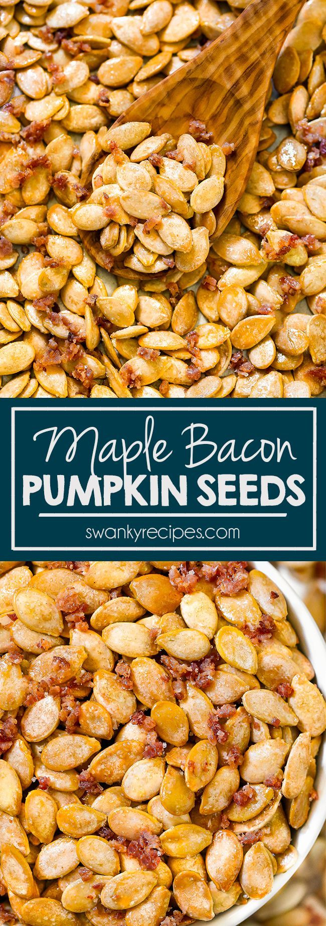 Maple Pumpkin Seeds with Bacon #roastedpumpkinseedsrecipe Maple Bacon Pumpkin Seeds recipe. A fun sweet and salty snack for Halloween with real maple syrup and bacon. #pumpkinseeds #pumpkinseedsrecipebaked