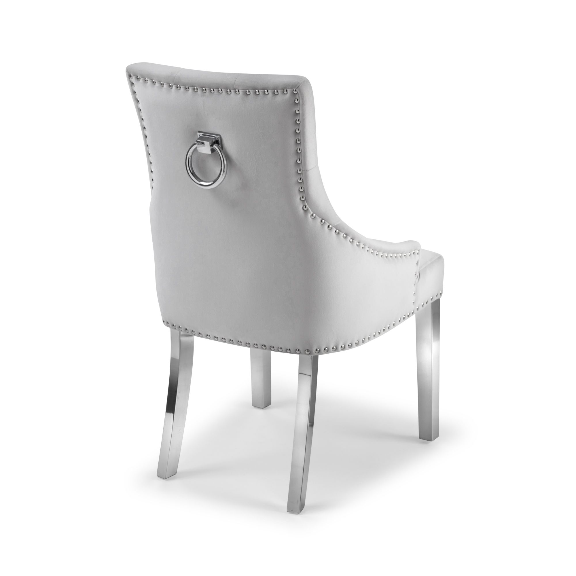 Dove Grey Brushed Velvet Upholstered Scoop Dining Chair With Hoop Sets In 2020 Dining Chairs Chair Steel Dining Table