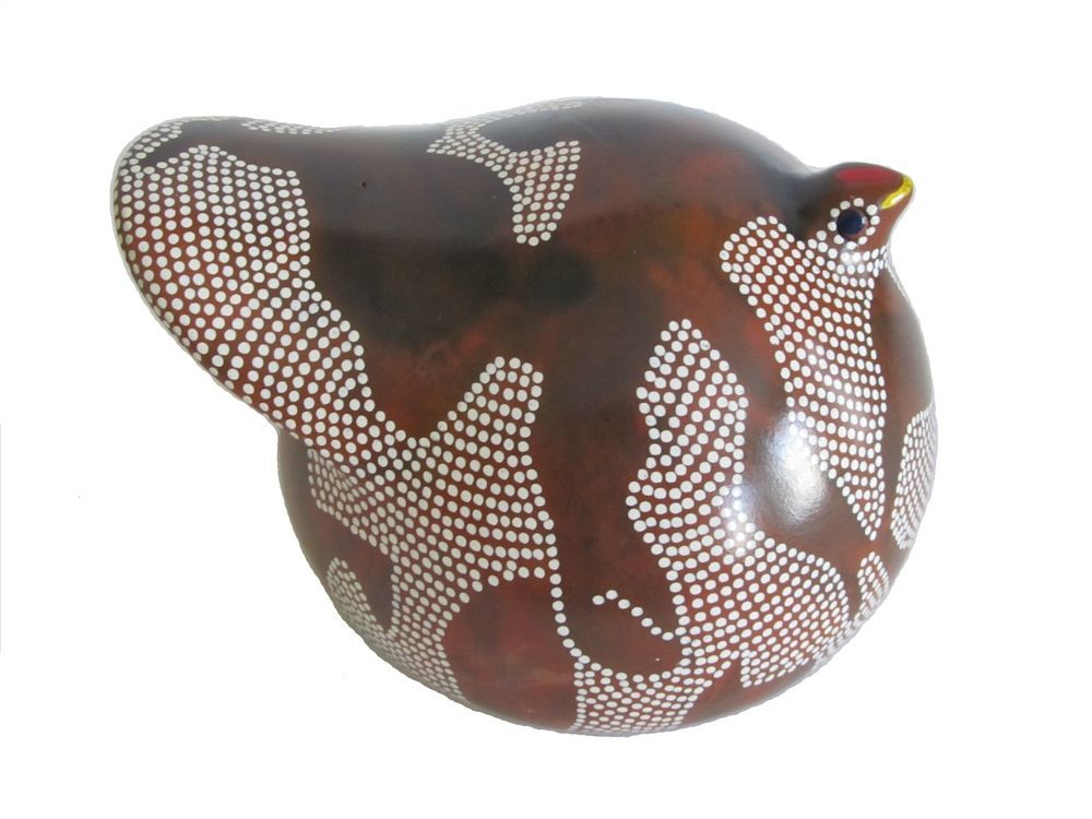 Ethiopian Guinea Fowl Clay Figure - Brown and White - Traditional