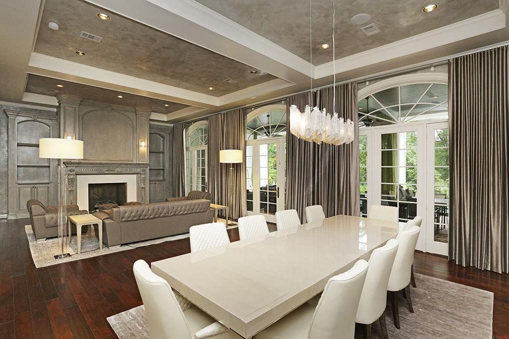 Sophisticated Updates To The Formal Living And Dining Rooms Include Venetian Plaster Walls Ceilings Modern Chandelier Custom Drapes