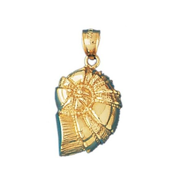 14K GOLD NAUTICAL CHARM SHELL 325 liked on Polyvore featuring