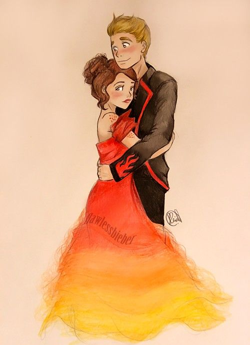 cartoon peeta and katniss hunger games pinterest