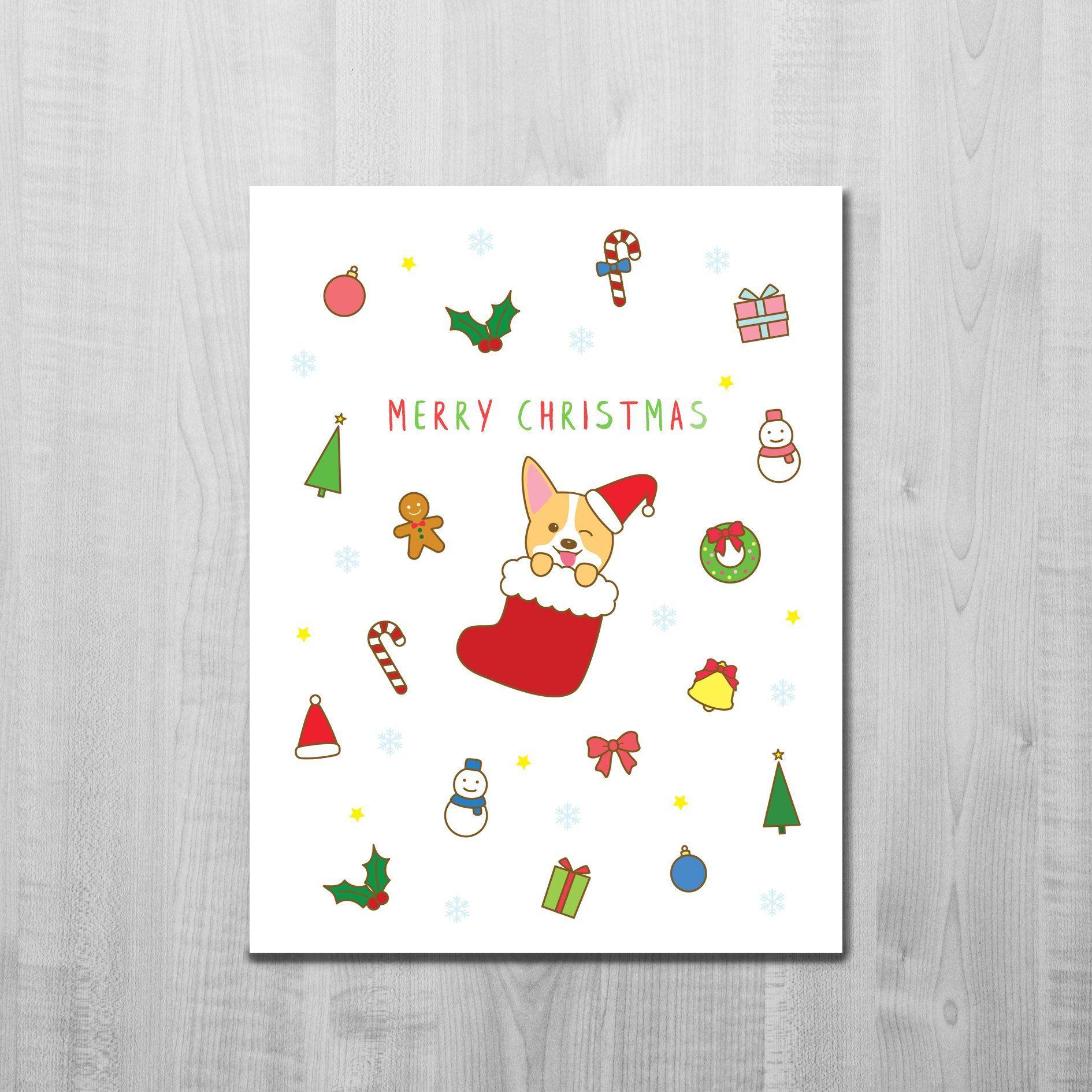 Corgi Christmas Card/ Christmas Decorations/ Corgi Christmas ...