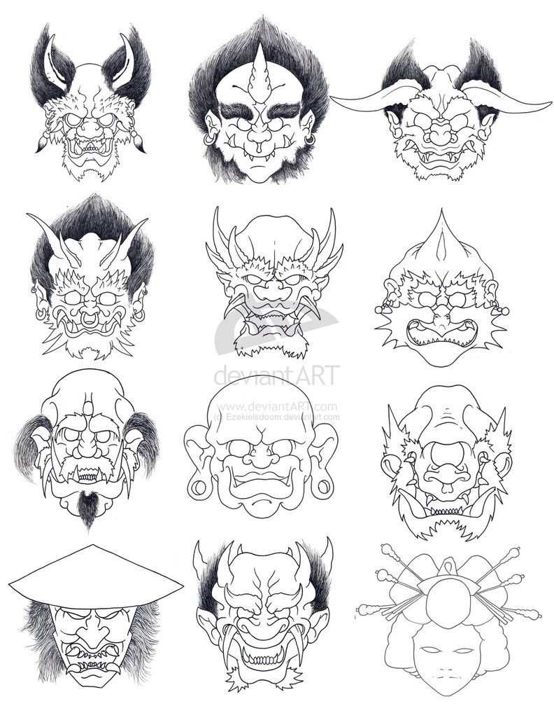 Japanese Tattoo Line Drawing : The demons by joshdixart on deviantart hannya mask