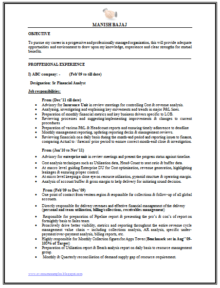 Senior Financial Analyst Resume Professional Curriculum Vitae  Resume Template For All Job