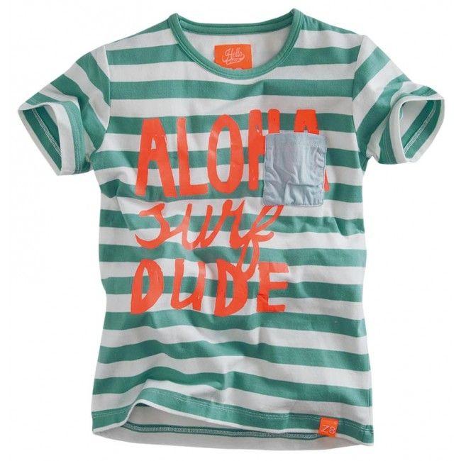 Z8 - T-shirt Jurre sea green stripe