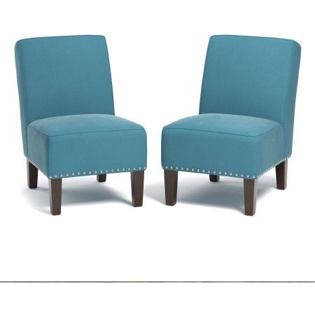 Brodee Armless Chair In Velvet, Multiple Colors (Set Of 2), Blue