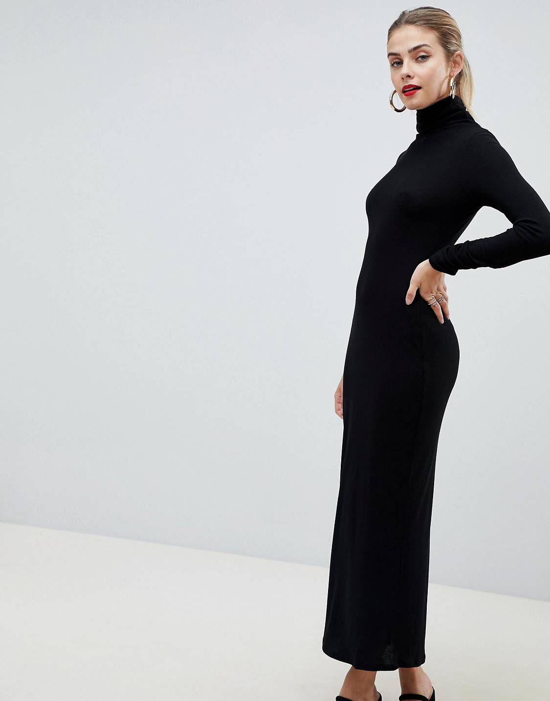 534c91569 DESIGN high neck rib maxi dress with long sleeves in 2019 | Outfit ...