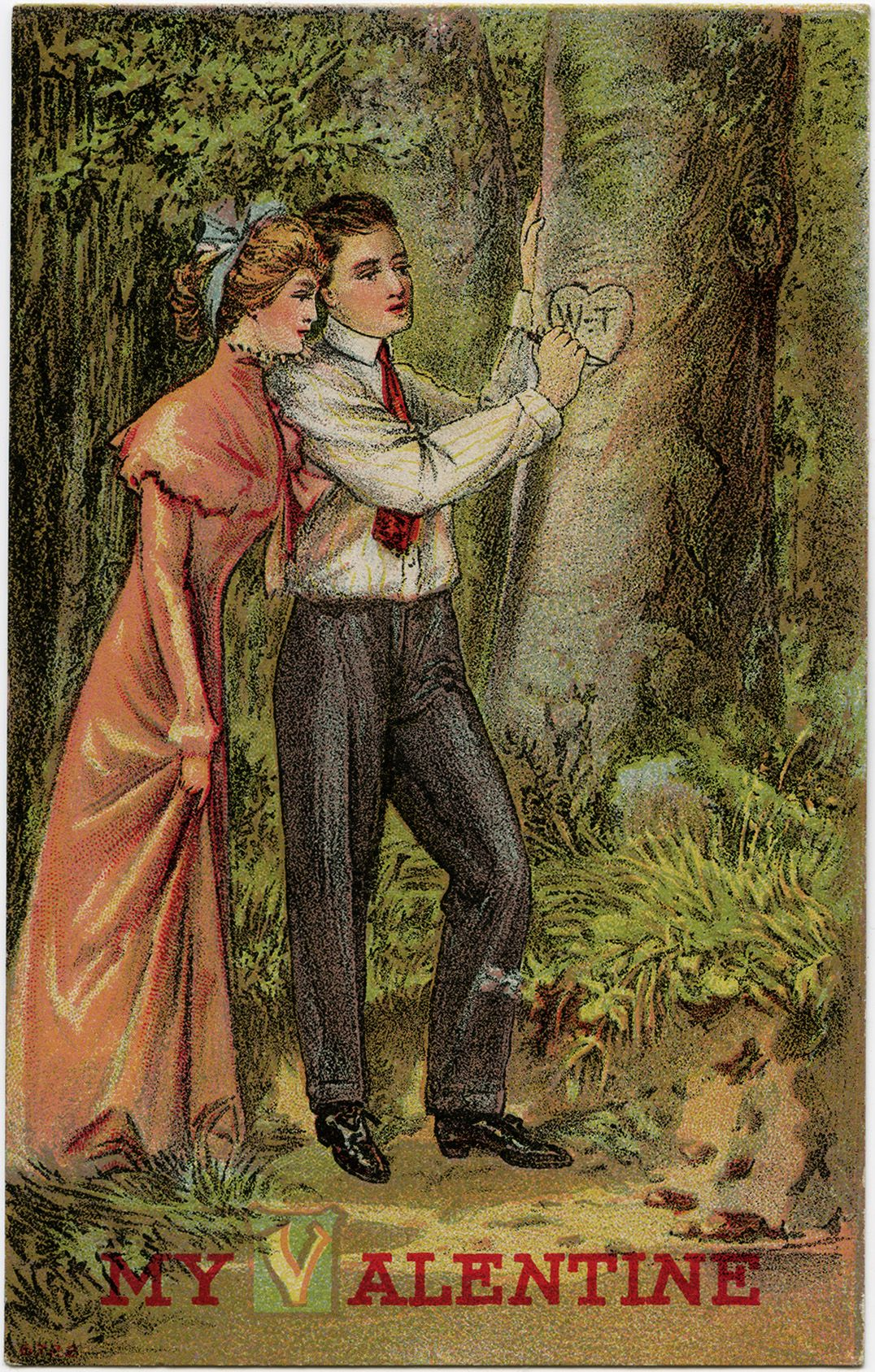 Carving Initials on Tree ~ Free Romantic Valentine Clip Art