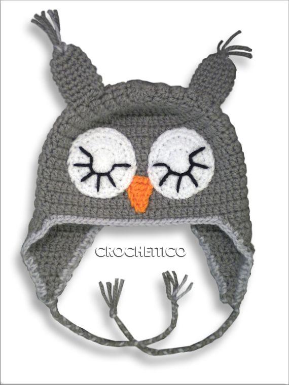 gorro crochet buho gris medio, Complementos, Gorros, Niños y bebé ...