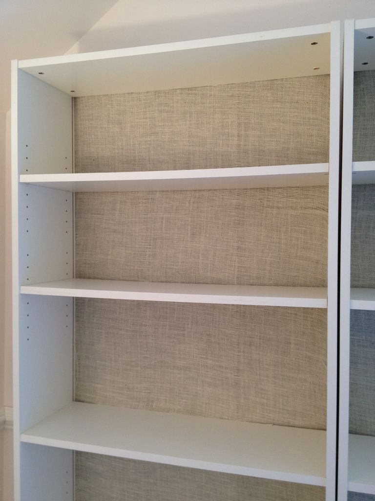 Bookshelves color - Burlap Backed Ikea Billy Bookcases Can Be Backed In Any Color Fabric You Like