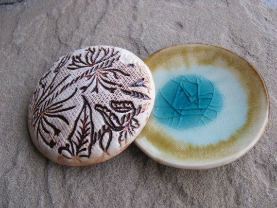 Mini Plate Tiny Ceramic Dish Glazed in Aqua by ShadyGrovePottery, $8.00