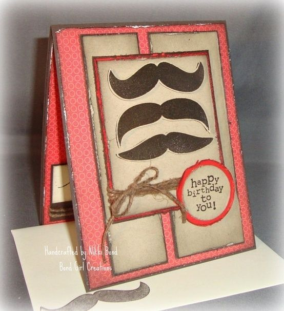 Pin by gina kinde on masculine cards pinterest masculine cards mustache birthday handmade card masculine would change colors bookmarktalkfo Image collections