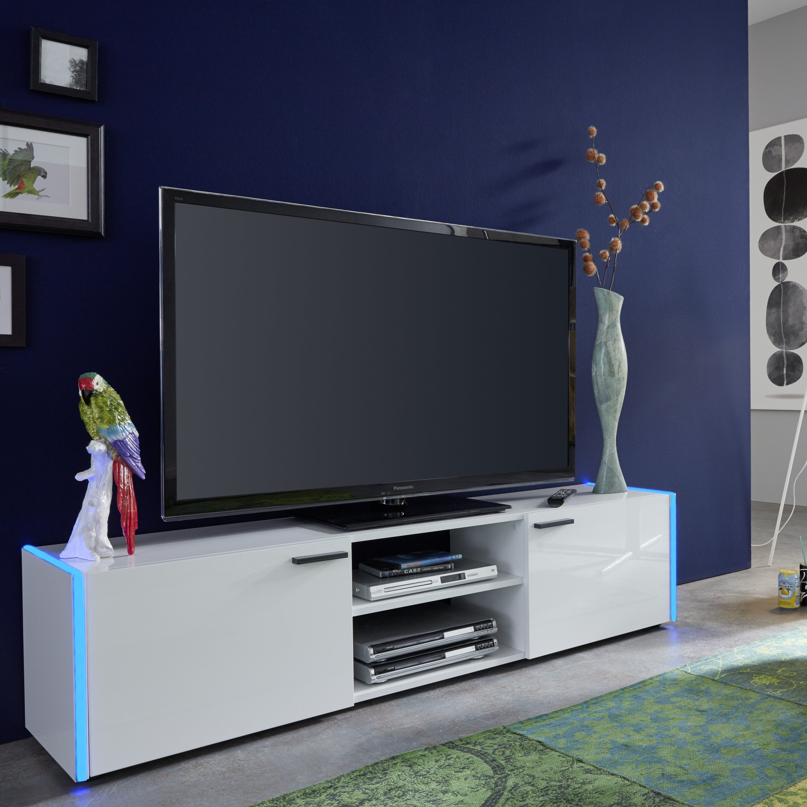 Trendiges Lowboard Tv Board In Lack Weiss Mit