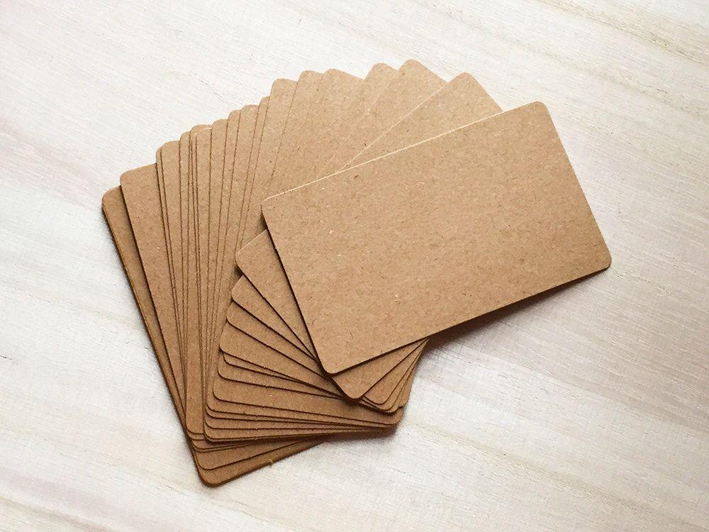 Blank Business Cards - Brown Kraft (20 pcs / 100 pcs) Round Corner ...
