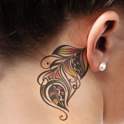 Woman With Behind The Ear Colorful Feather Tattoo Feather Tattoo Colour Ear Tattoo Feather Tattoos