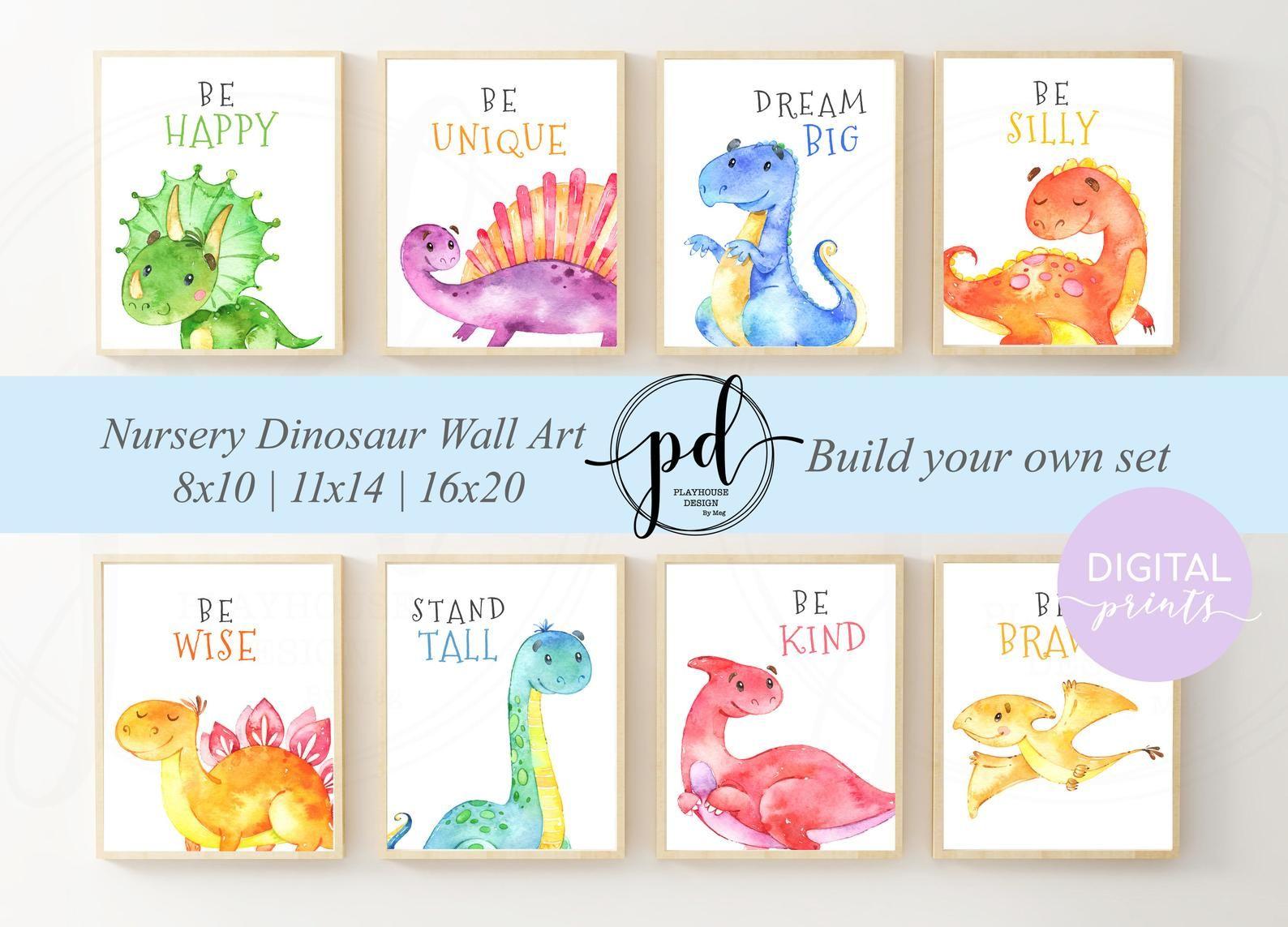 Dinosaur Nursery Wall Art Set, Baby Nusery Decor, Nursery Printables, Baby Shower Gift, Dinosaur Nursery Printables, Kids Room Decor #dinosaurnursery