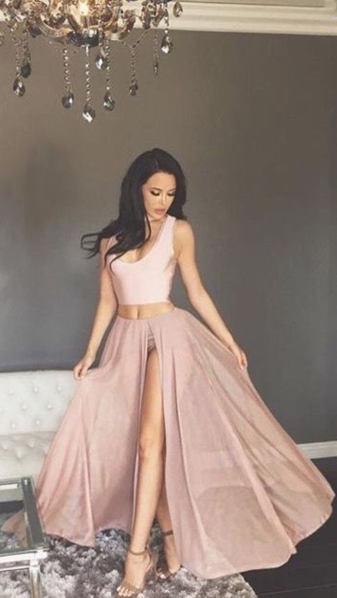Two piece scoop blush long chiffon prom dress with split blush