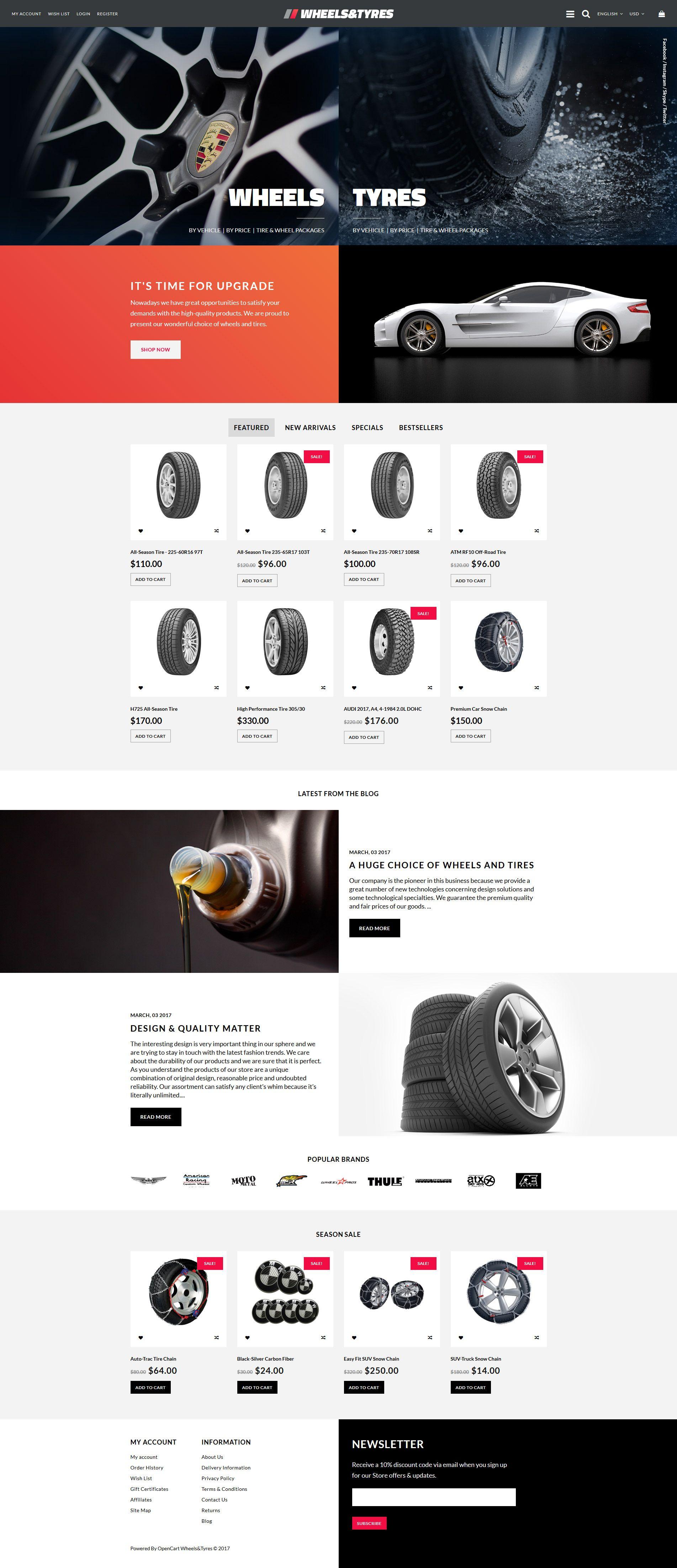 Wheels Tyres Responsive Opencart Template