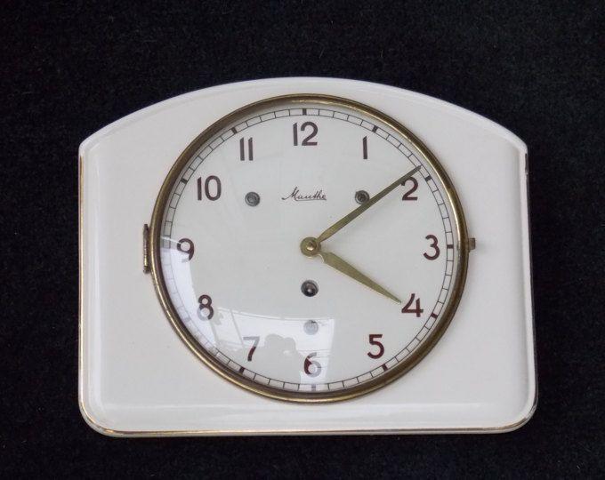 Ceramic clock, Mauthe wall clock, Art Deco wall clock, mechanical ...