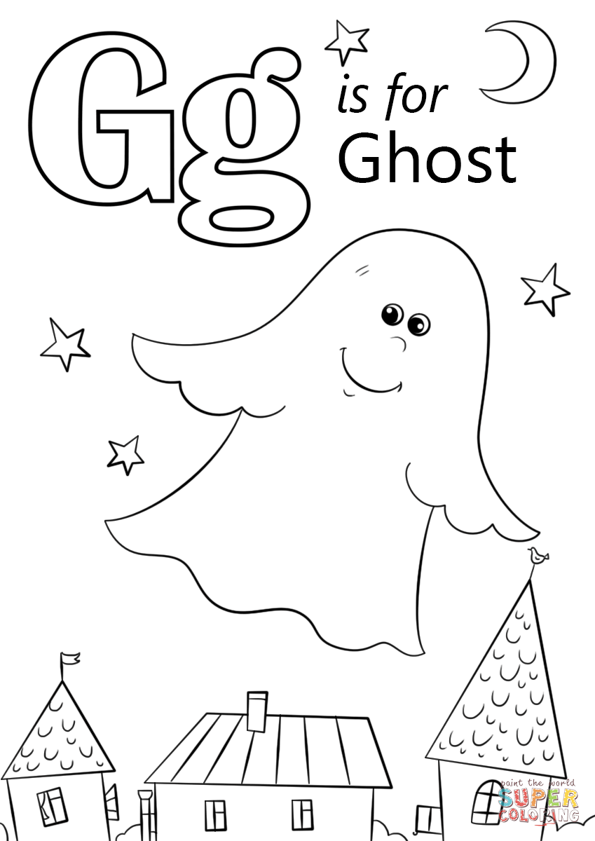 Letter G is for Ghost coloring page Free Printable