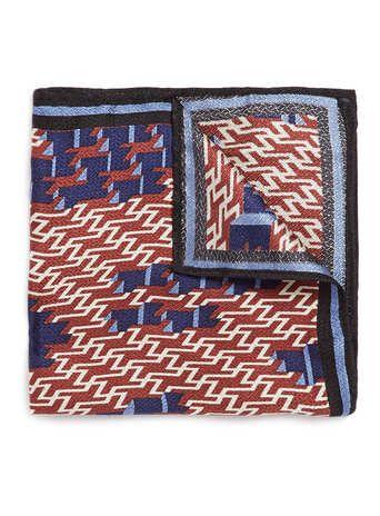 Burgundy Geometric Silk Pocket Square