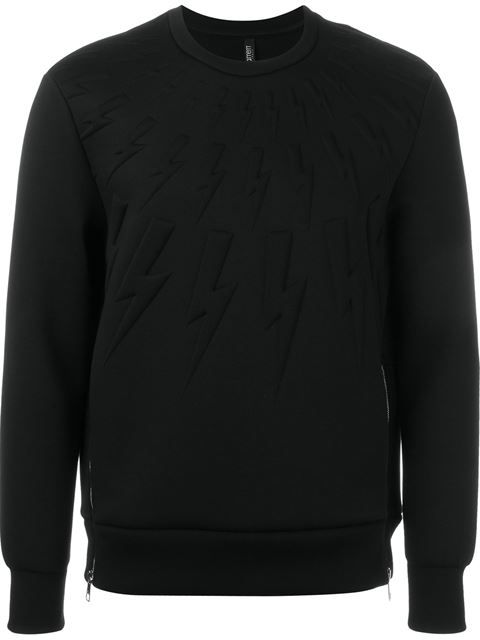 NEIL BARRETT Embossed Lightning Bolt Sweatshirt. #neilbarrett #cloth #sweatshirt