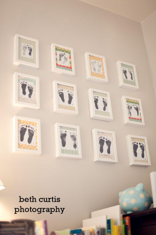Jeden Monat einen #Fußabdruck in schönen #Bilderrahmen für das ... | {Kinderzimmermöbel baby 17}