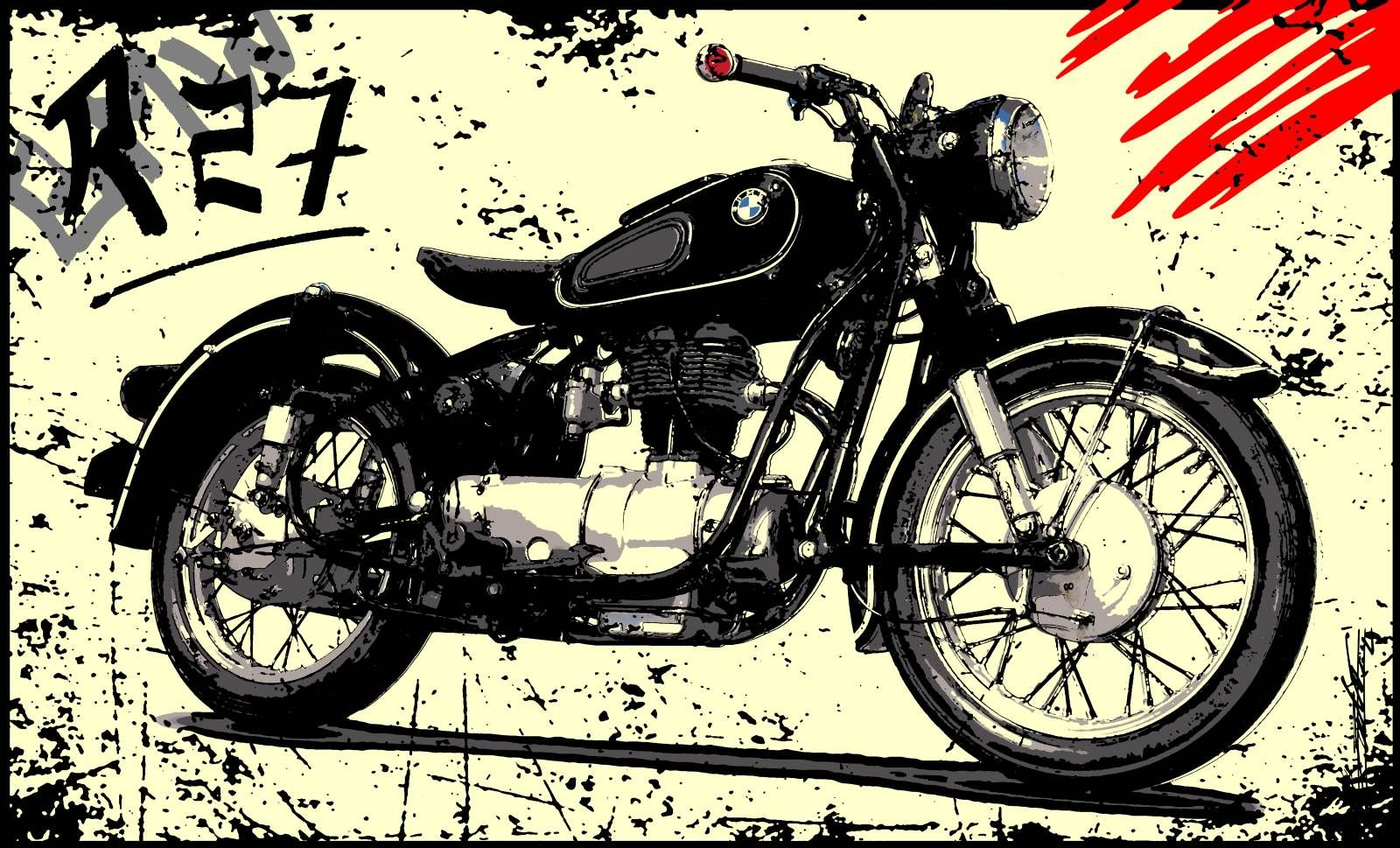 tableau moto ancienne peinture bmw r27 noir blanc dessin acrylique moderne contemporain. Black Bedroom Furniture Sets. Home Design Ideas