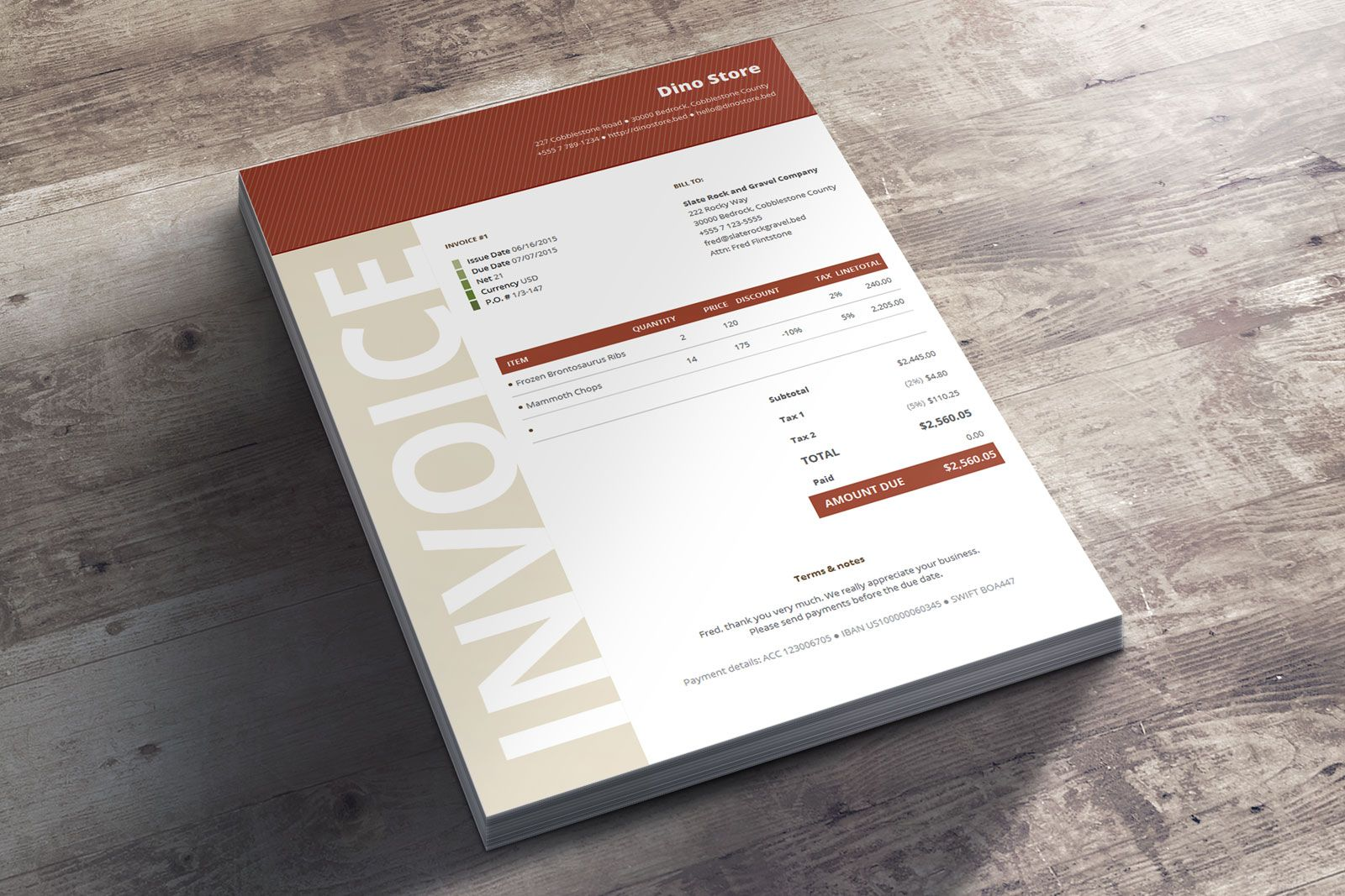 Commercial Business Invoice Niana Corporate Design Template - Corporate invoice template