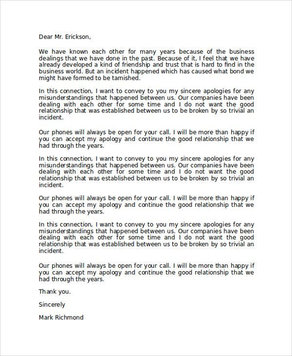 sample formal apology letter documents pdf word corporate related - apology letter example
