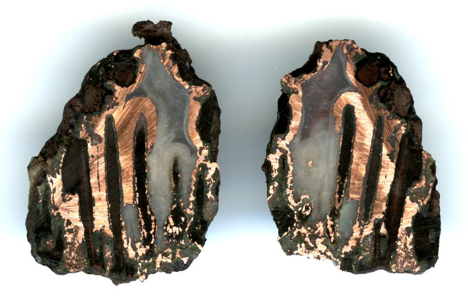 Copper replacement agate (rarest type of agate)