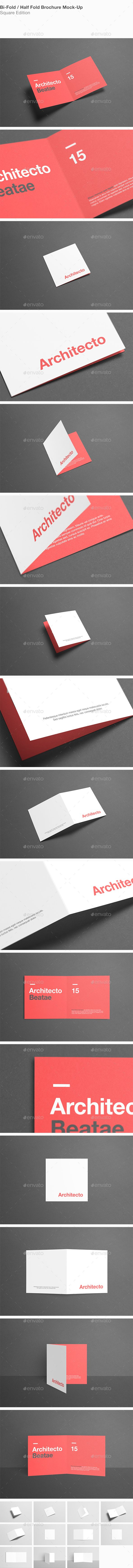 Square BiFold HalfFold Brochure MockUp — shop PSD glossy paper • Available here