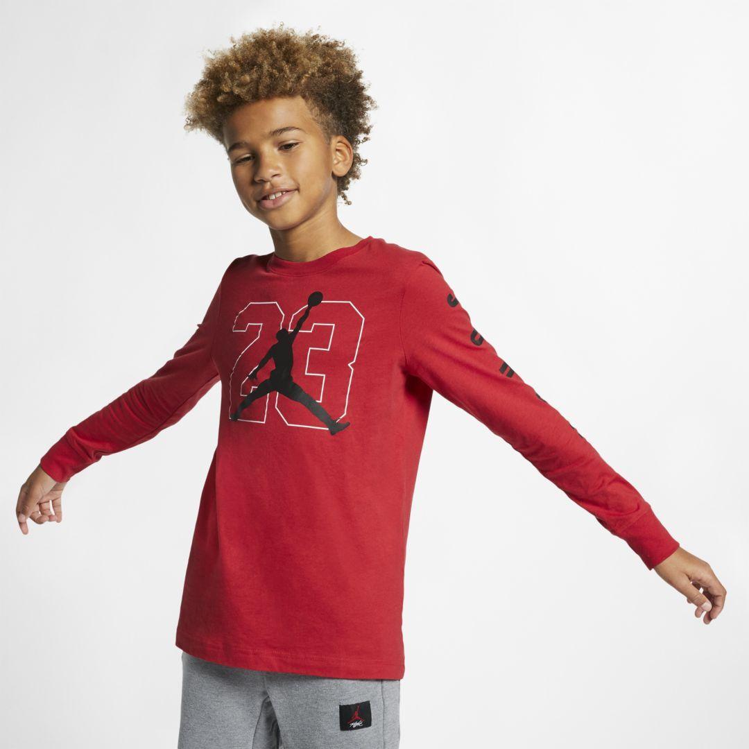 e605f3dc Jordan Jumpman 23 Big Kids' (Boys') Long-Sleeve Graphic T-Shirt Size M (Gym  Red)