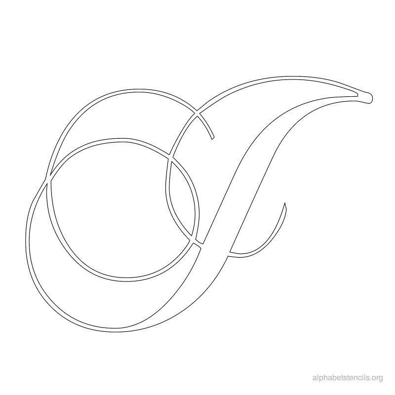 Alphabet Stencils Calligraphy J  Silhouette