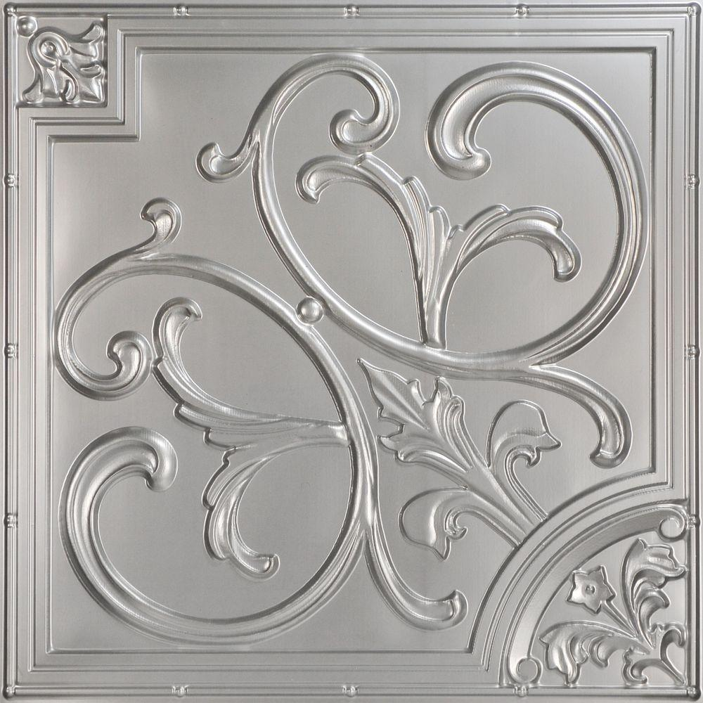 Decorative Ceiling Tiles Lilies And Swirls 2 Ft X Pvc Lay In Or Glue Up Panel Silver 100 Sq Case Satin